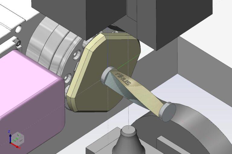 mostra a máquina de eletroerosao a fio CNC cortando a peça usando o recurso de tornar e queimar do software Fikus