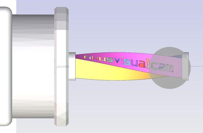 mostra a vista lateral da máquina de eletroerosão a fio CNC cortando a peça usando o recurso de tornar e queimar do software cad/cam Fikus