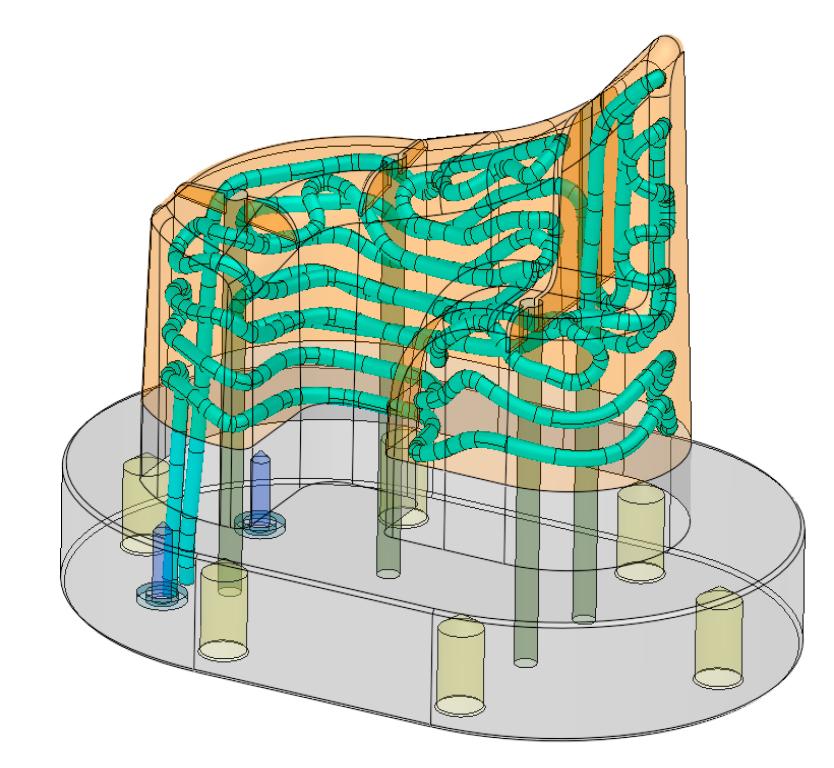 Representação da aplicação de refrigeração tradicional e conformal permitindo ao projeto eficiência que foi damaticamente aprimorada no software Cimatron 15