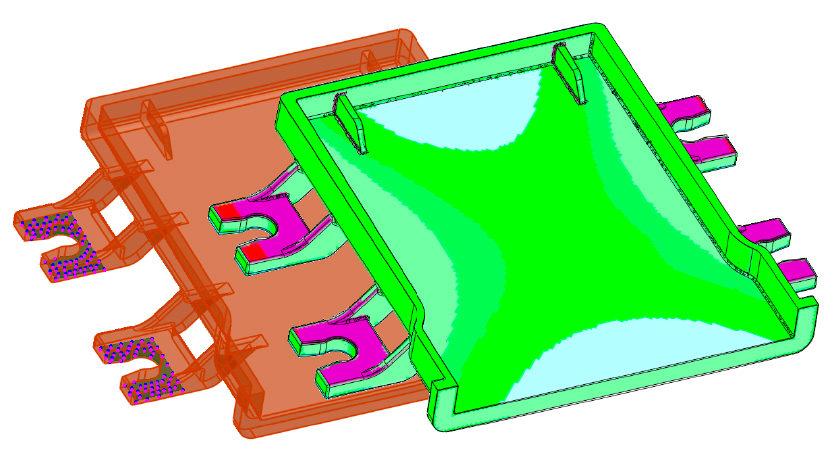Representação do Desvio entre peças simulada e modelo de peças reconhecido e compensado por empenamento no Software Cimatron 15 CAM
