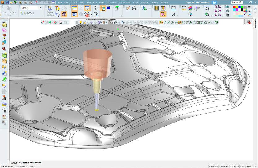 Representação de andamento na ferramenta matriz da tampa de motor de carro utilizando uma fresa de segmento circular no Software Cimatron 15