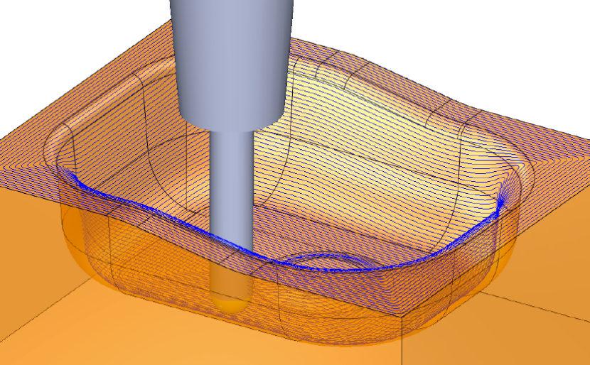 Representação de um caminho de ferramenta geod´rsico 3 eixos dom passo 3D no software Cimatron CAM