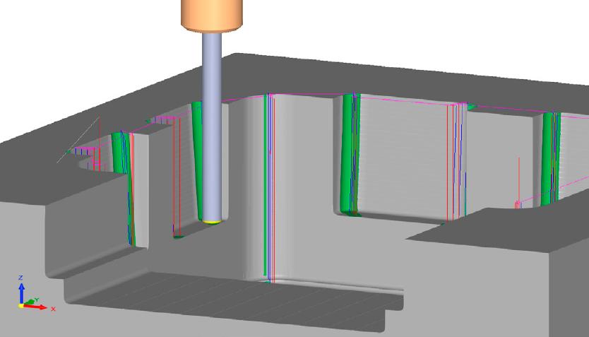Um desbaste eficiente nos cantos é feito com o novo mergulho de cantos, onde o material é removido cortando para baixo, incluindo uma opção para avançar as passadas.