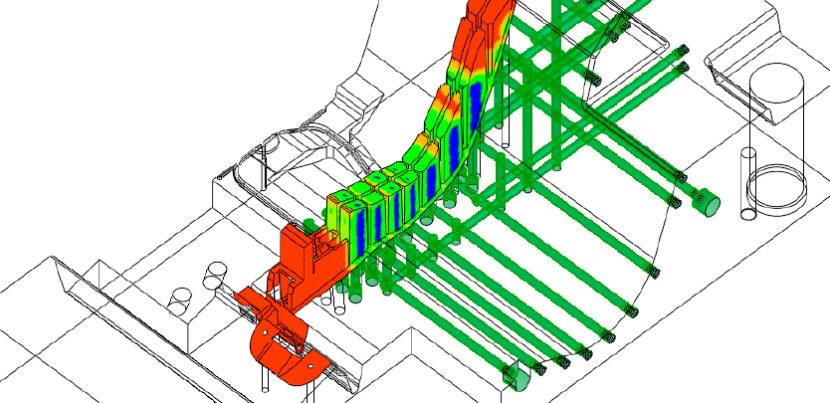 Representação da nova análise rápida de novos canais de refrigeração com base na distância entre faces e canais de refrigeração do Software Cimatron 15 CAM
