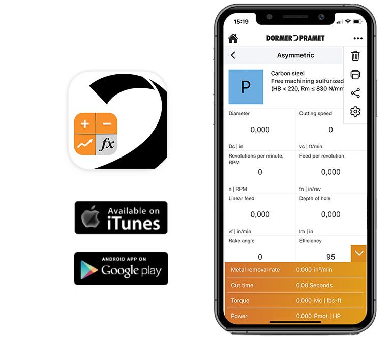Calculatora-App-dormer-pramet-dados-corte-ferramenta